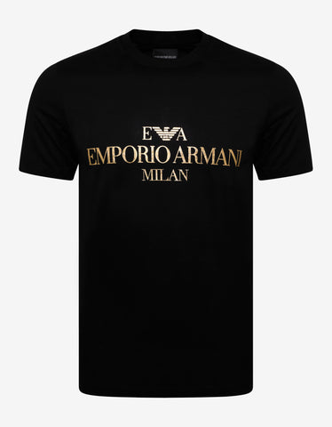 Emporio Armani Black T-Shirt with Metallic Gold Print