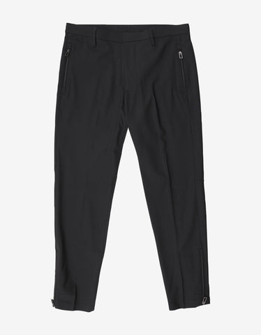 Emporio Armani Black Wool Trousers with Zips