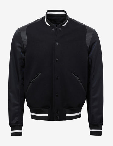 Emporio Armani Black Wool Varsity Jacket with Nylon Sleeves