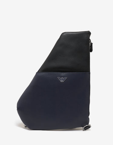 Emporio Armani Black and Blue Single Strap Backpack