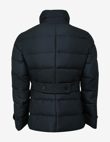 Emporio Armani Blue Houndstooth Down Jacket