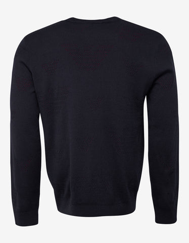 Emporio Armani Dark Blue Perforated Logo Sweater