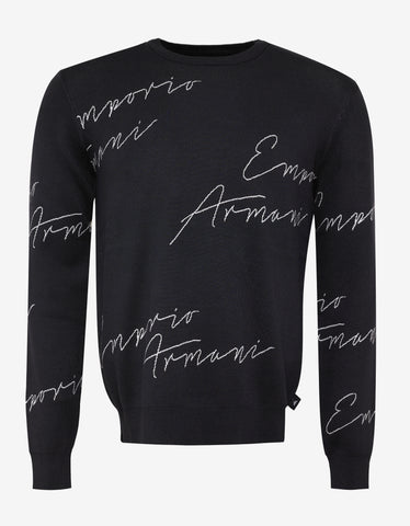 Emporio Armani Blue Scripted Logo Pattern Sweater