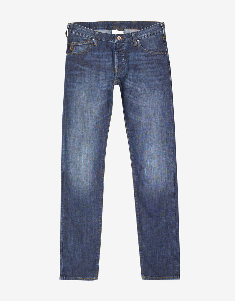 Blue Slim Fit Denim Jeans with Eagle Logo