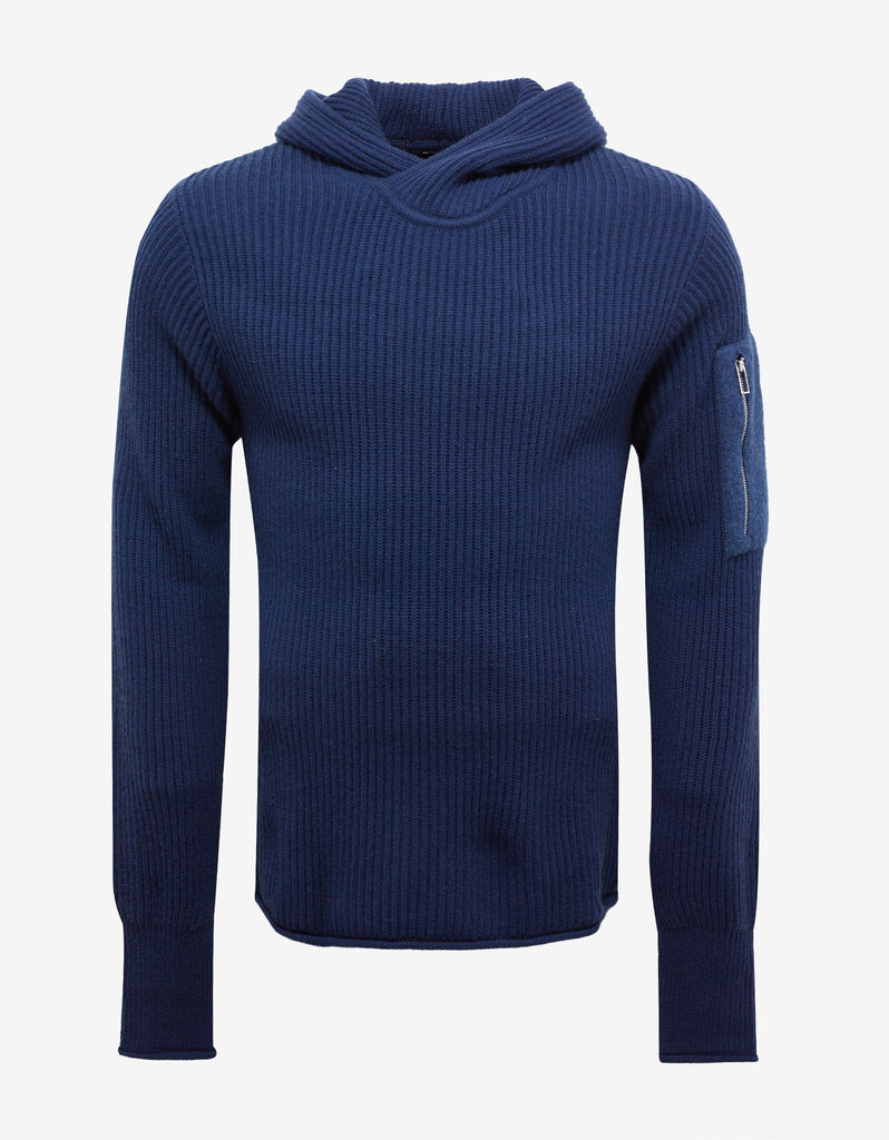Blue Wool Hooded Sweater