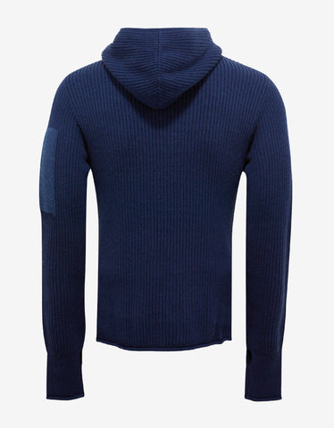 Emporio Armani Blue Wool Hooded Sweater