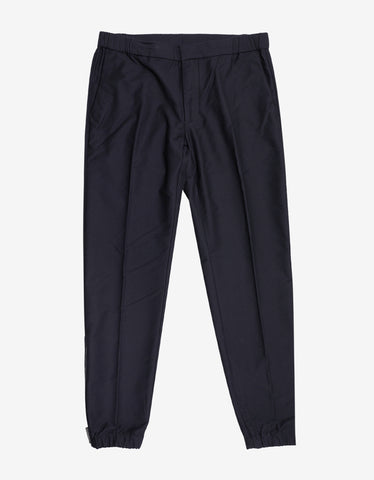 Emporio Armani Navy Blue Trousers with Zip Detail