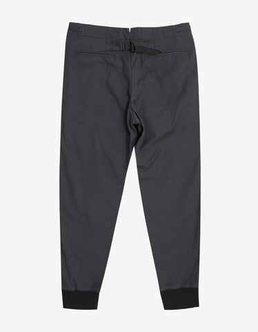 Emporio Armani Grey Trousers with Ribbed Ankle Cuffs