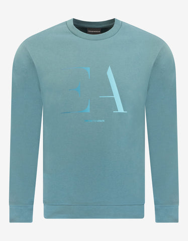 Emporio Armani Light Blue EA Logo Print Sweatshirt