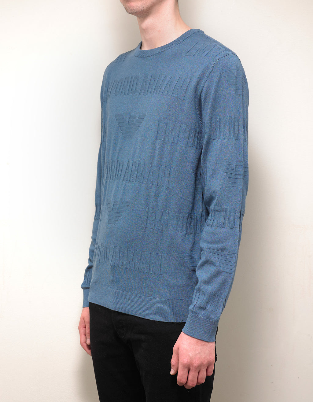 Light Blue Logo Intarsia Sweater