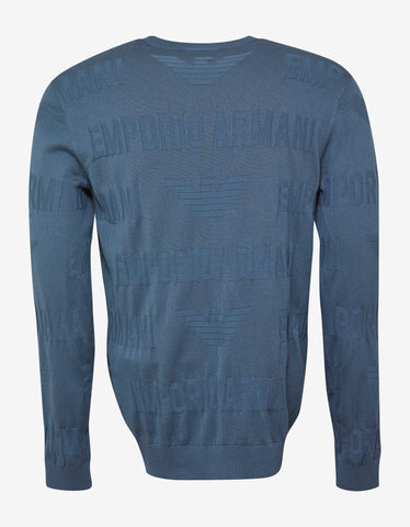 Emporio Armani Light Blue Logo Intarsia Sweater