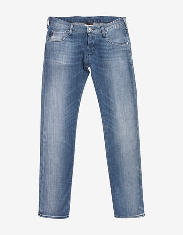 Emporio Armani Light Blue Slim Denim Jeans with Eagle Logo