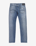 Light Blue Slim Denim Jeans with Eagle Logo