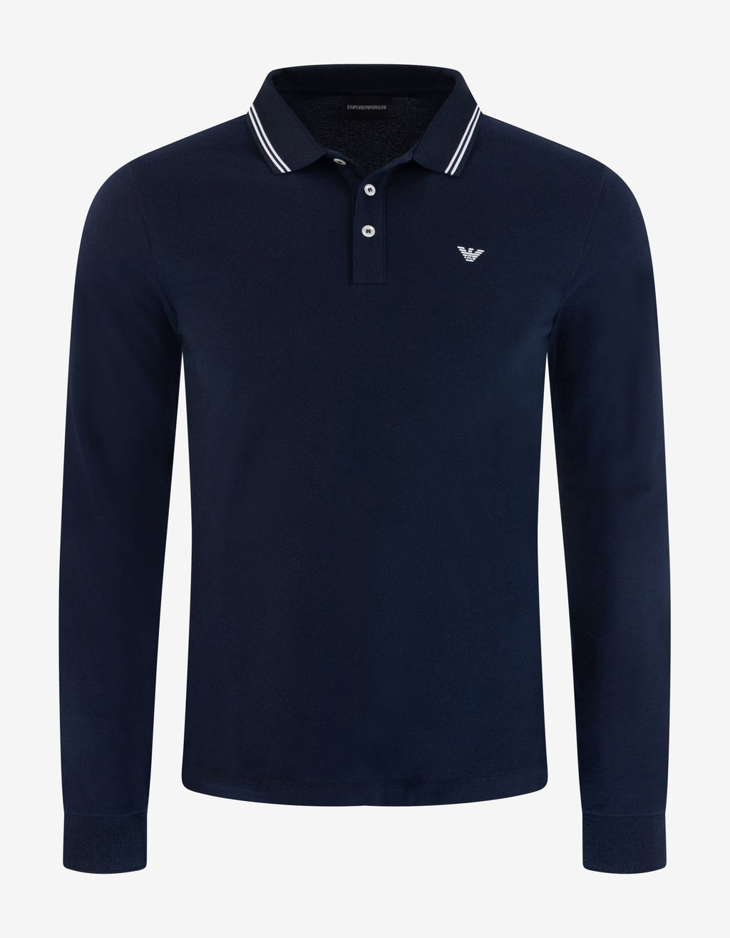 Navy Blue Eagle Logo Long Sleeve Polo T-Shirt