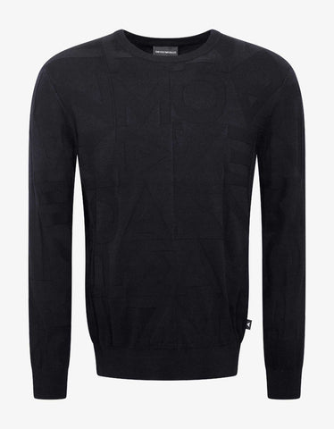 Emporio Armani Navy Blue Embossed Lettering Sweater