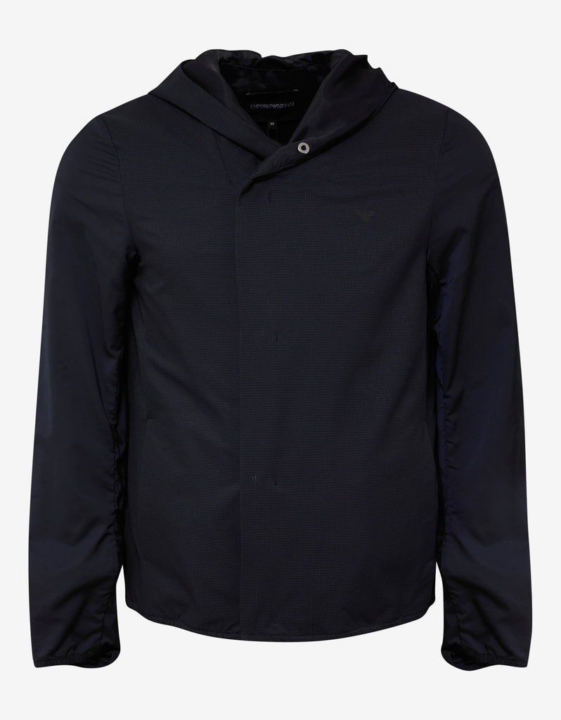 Navy Blue Hooded Windcheater