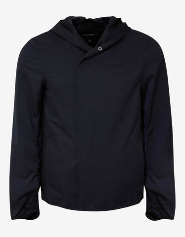 Emporio Armani Navy Blue Hooded Windcheater
