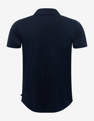 Navy Blue Jersey Cotton Short Sleeve Shirt