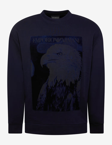 Emporio Armani Navy Blue Velvet Eagle Patch Sweatshirt