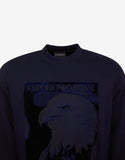 Navy Blue Velvet Eagle Patch Sweatshirt