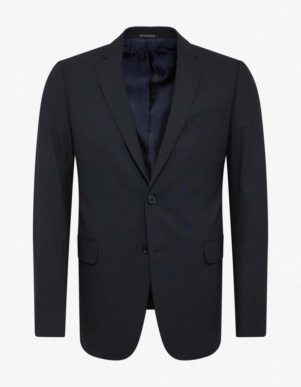 Navy Blue Wool-Blend Two-Button Suit -