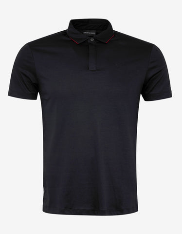 Emporio Armani Navy Blue Polo T-Shirt with Red Trim