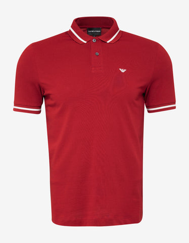 Emporio Armani Red Eagle Logo Polo T-Shirt