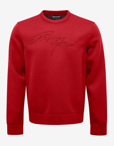 Emporio Armani Red Logo Embroidery Sweatshirt