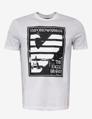 Emporio Armani White 'The Eagle Brand' Print T-Shirt