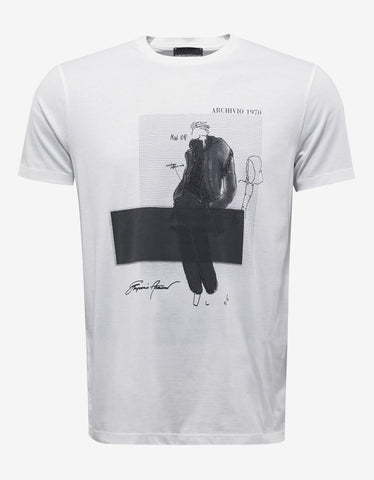 Emporio Armani White Graphic Print T-Shirt
