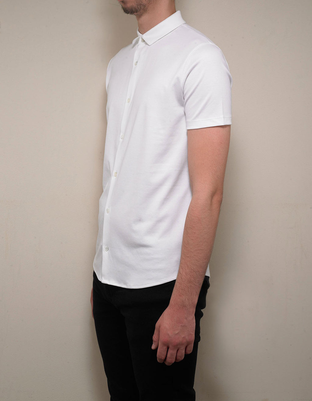White Jersey Cotton Short Sleeve Shirt
