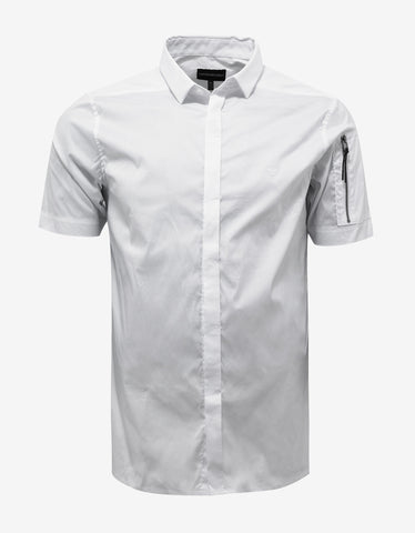 Emporio Armani White Logo Embroidery Short Sleeve Shirt