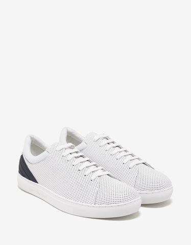 Emporio Armani White Perforated Leather Trainers