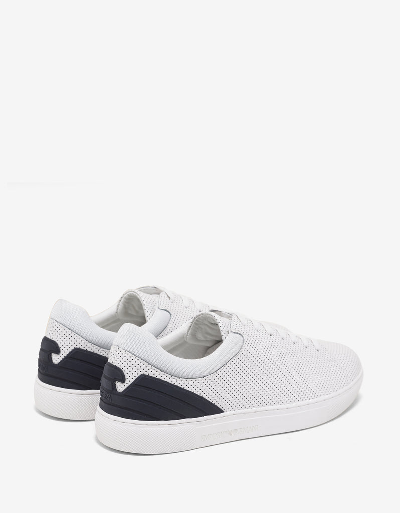 White Perforated Leather Trainers