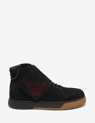 Emporio Armani Black Velcro Strap Suede High Top Trainers