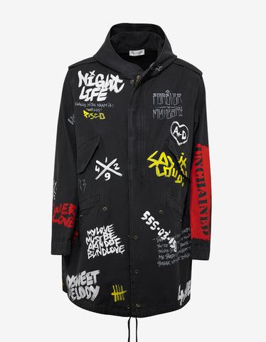 Faith Connexion Black Oversized Graffiti Paint Tag Tail Parka
