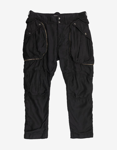 Faith Connexion Black Satin Cropped Cargo Pants