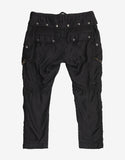 Black Satin Cropped Cargo Pants