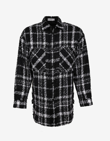 Faith Connexion Black & White Oversized Tweed Shirt