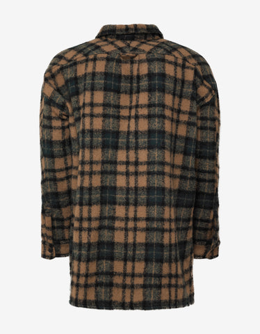 Faith Connexion Havane Wool Blend Plaid Overshirt