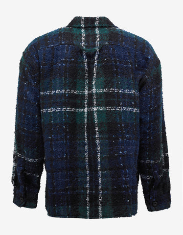 Faith Connexion Navy Blue & Green Oversized Tweed Shirt