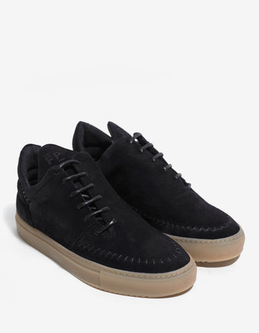 Filling Pieces Suede Black Low Apache Trainers