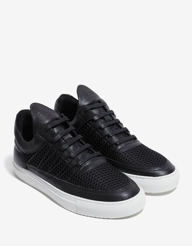 Filling Pieces Cane Black Low Top Trainers