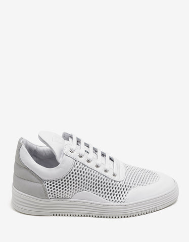 Filling Pieces White Mesh Low Top Trainers