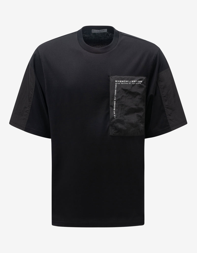 Black Bi-Material Oversized T-Shirt
