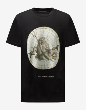 Black Poseidon Printed Oversized T-Shirt