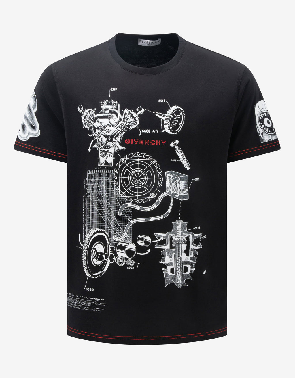 Black Schematics Print T-Shirt
