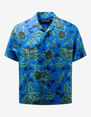 Blue Floral Print Hawaiian Silk Shirt