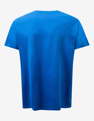 Blue Logo Label Print Oversized T-Shirt
