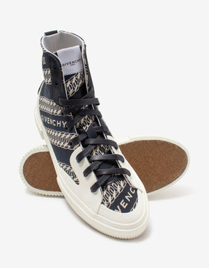Blue & White Chain Tennis Light High Top Trainers